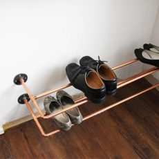 Floating copper piping shoe rack
