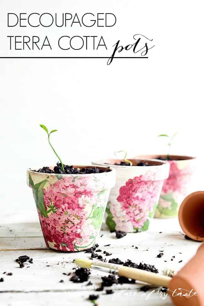 Floral decoupage terra cotta pots