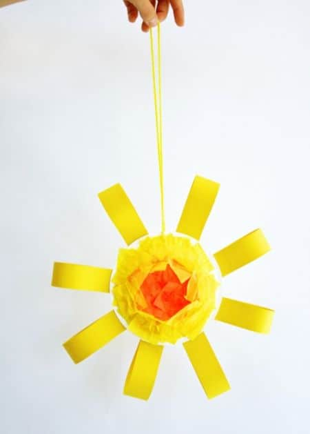 Folded loops and tissue paper sun mobile