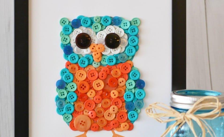 Framed button owl craft