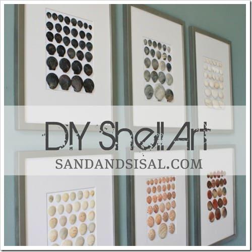 Framed seashell art