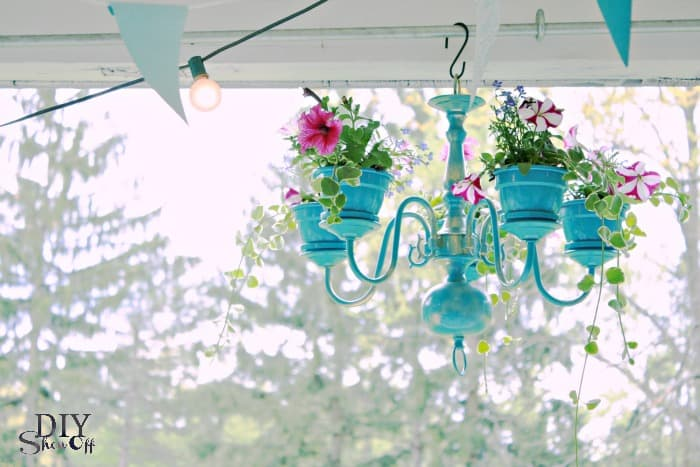 Front porch chandelier planter