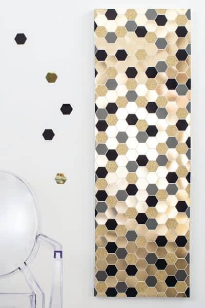 Giant hexagon confetti art