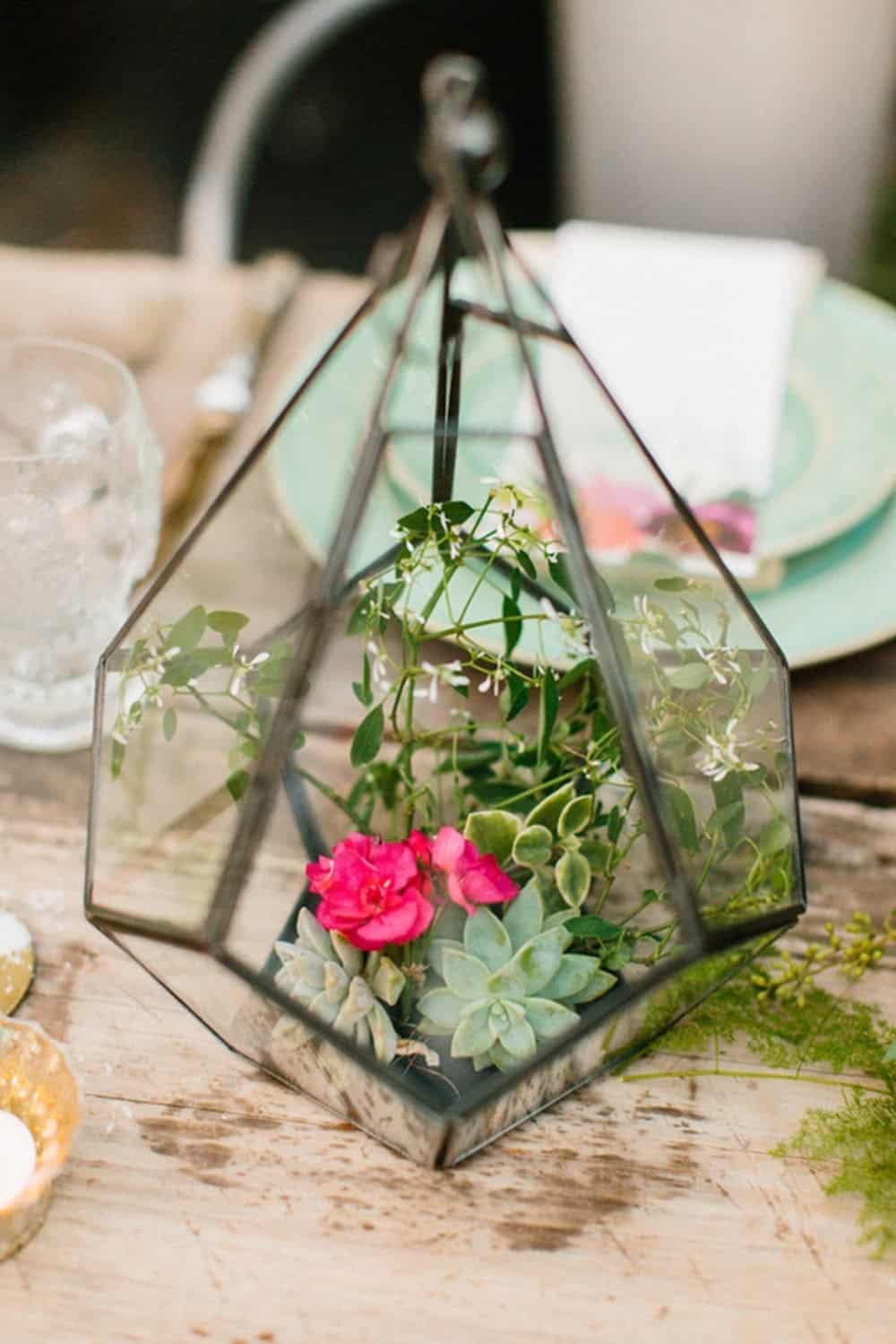 Glass terrarium centerpieces diy