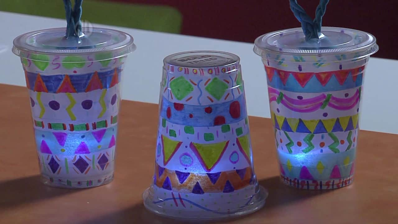 Glowing lanterns from plastic cups