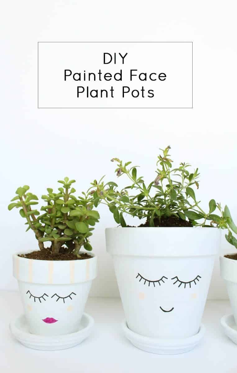 Hand painted pretty face planters