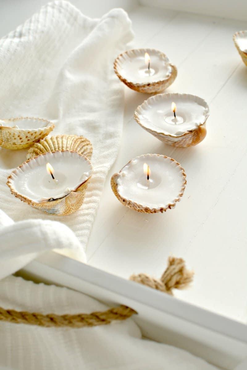 Handmade seashell candles