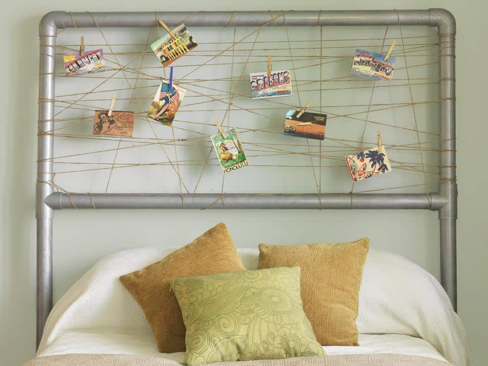 Industrial inspired pvc pipe and string photo headboard