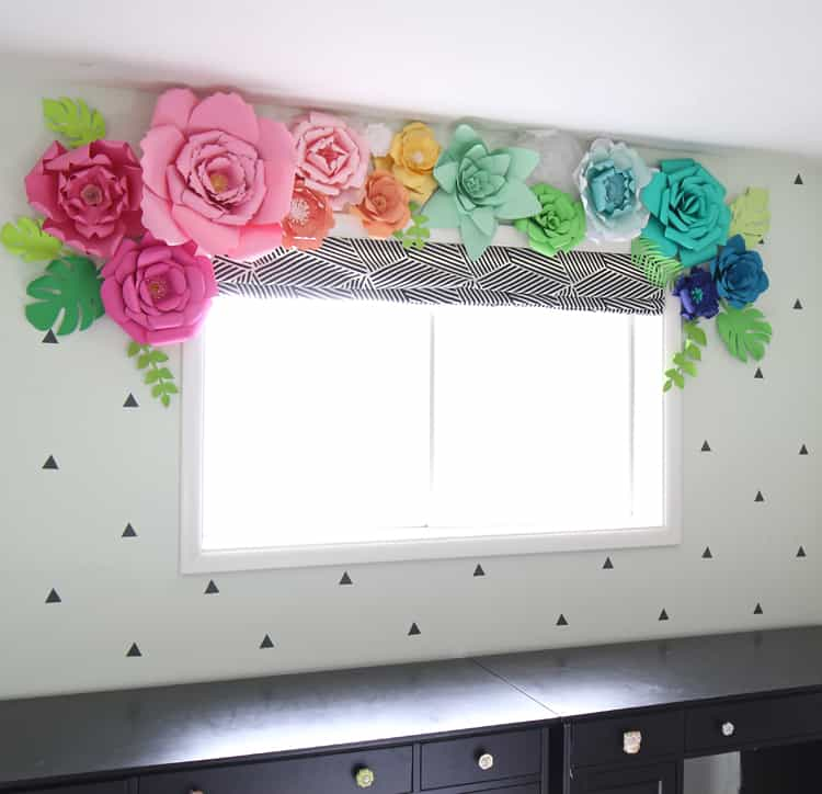 Jumbo paper flower window treatment