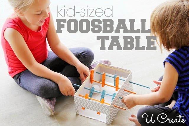 Kid sized cardboard foosball table