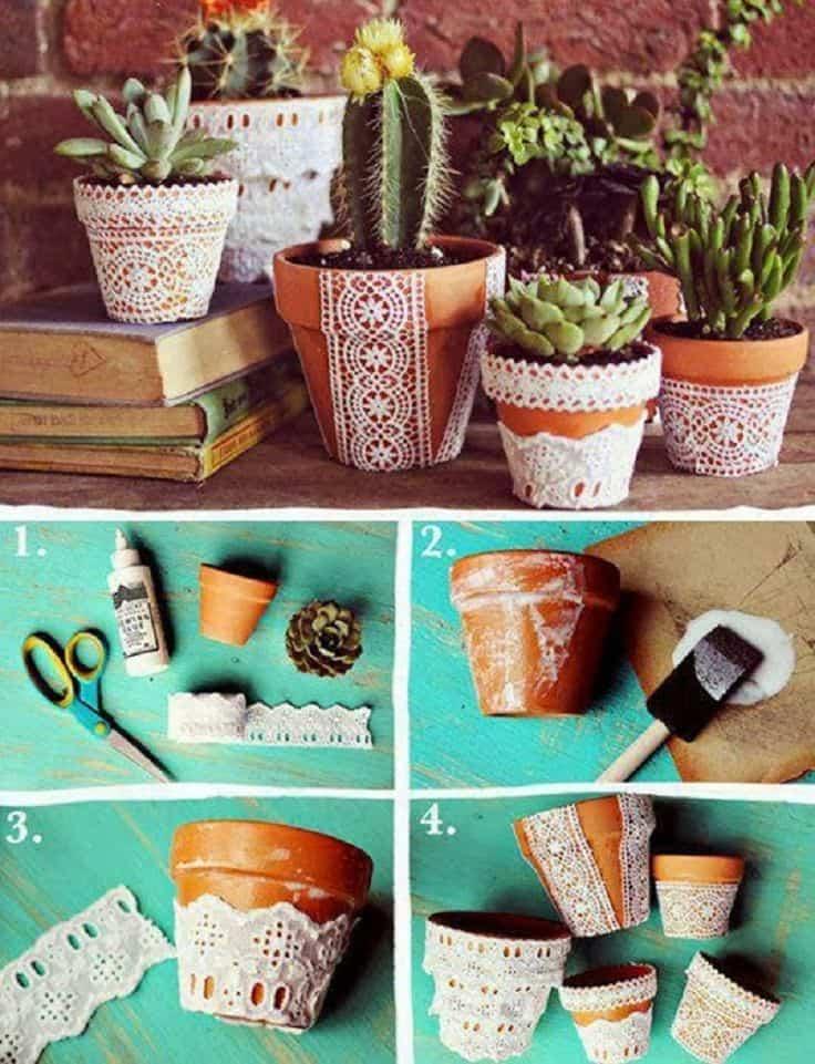 Lace decoupage pots