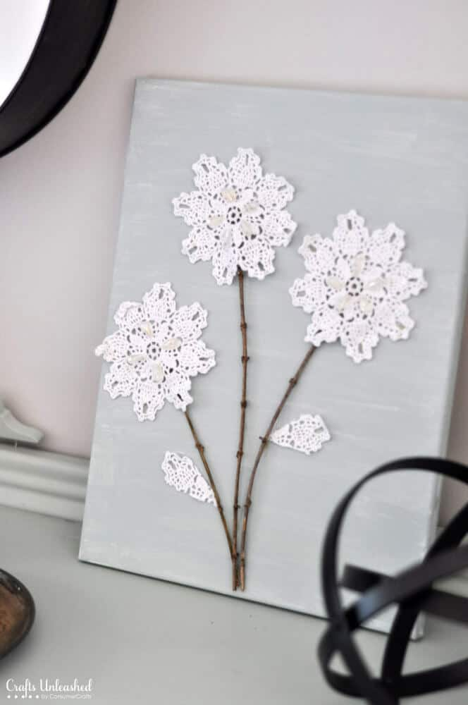 Lace doily flower art