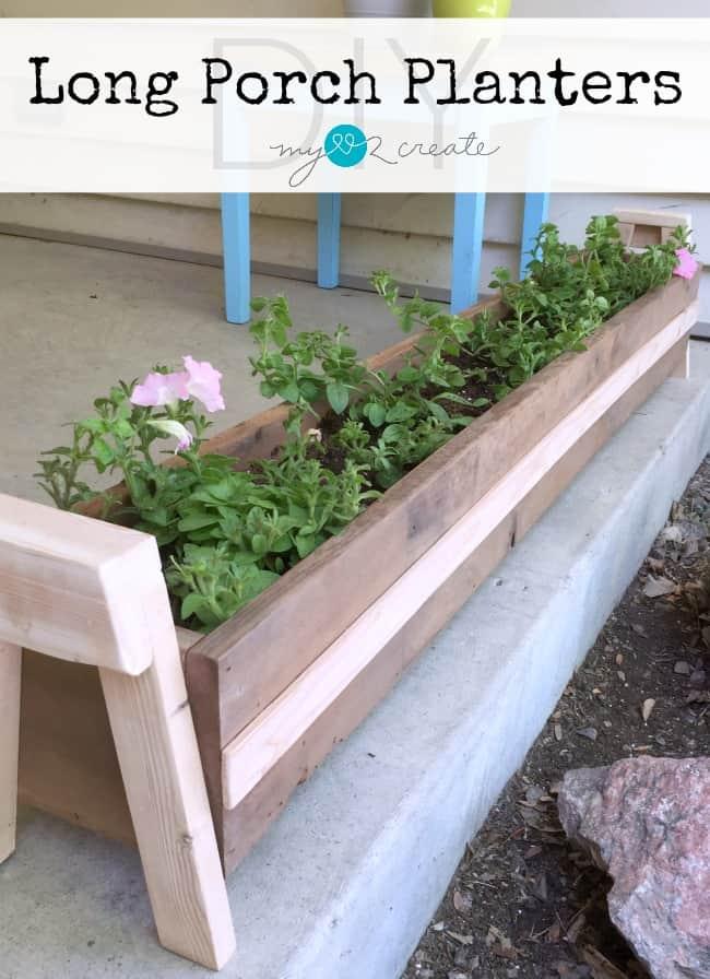 Long wooden front porch planters
