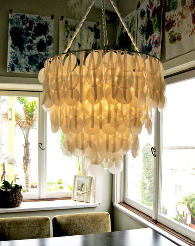 Lovely paper capiz shell chandelier