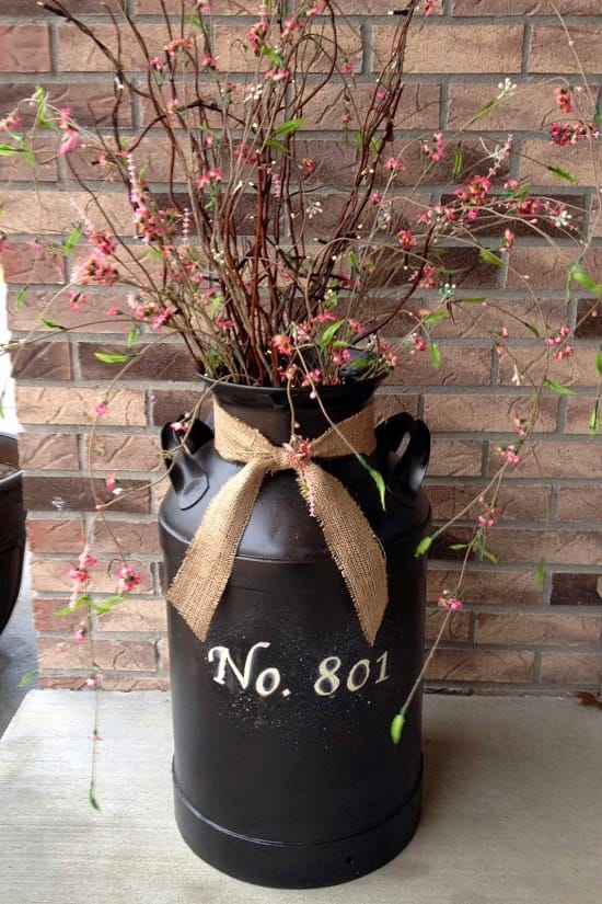 Milk can house number planter