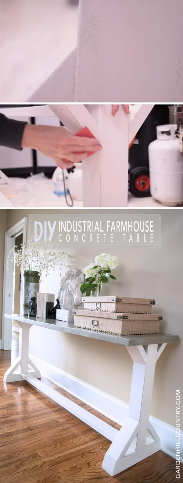 Milk painted industrial farmhouse console table