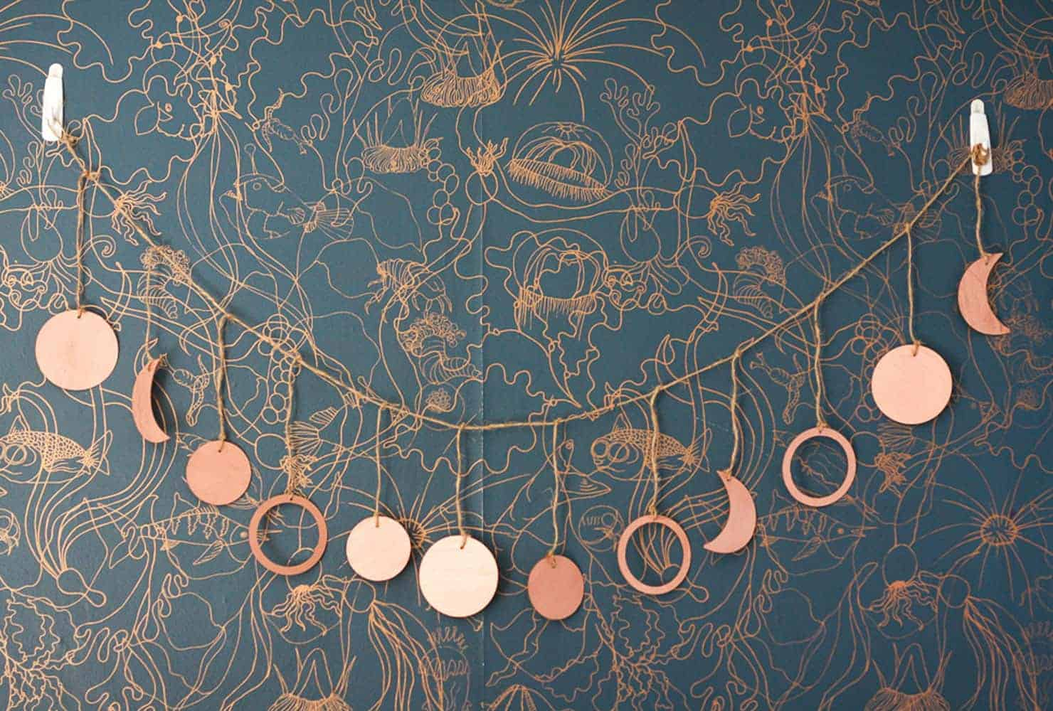 Moon phases copper garland