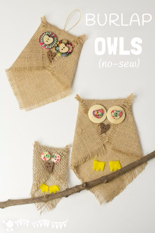 No sew burlap and button owls