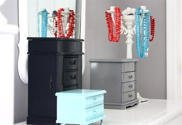 Painted candleholder jewelry storage