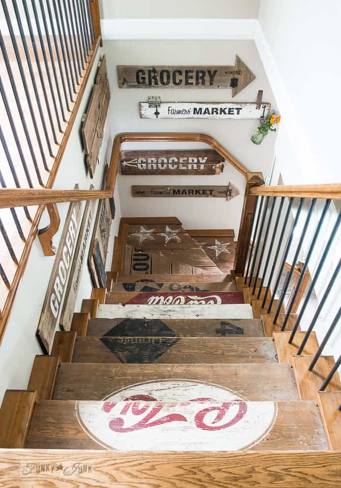 Painted vintage wooden crate stairs