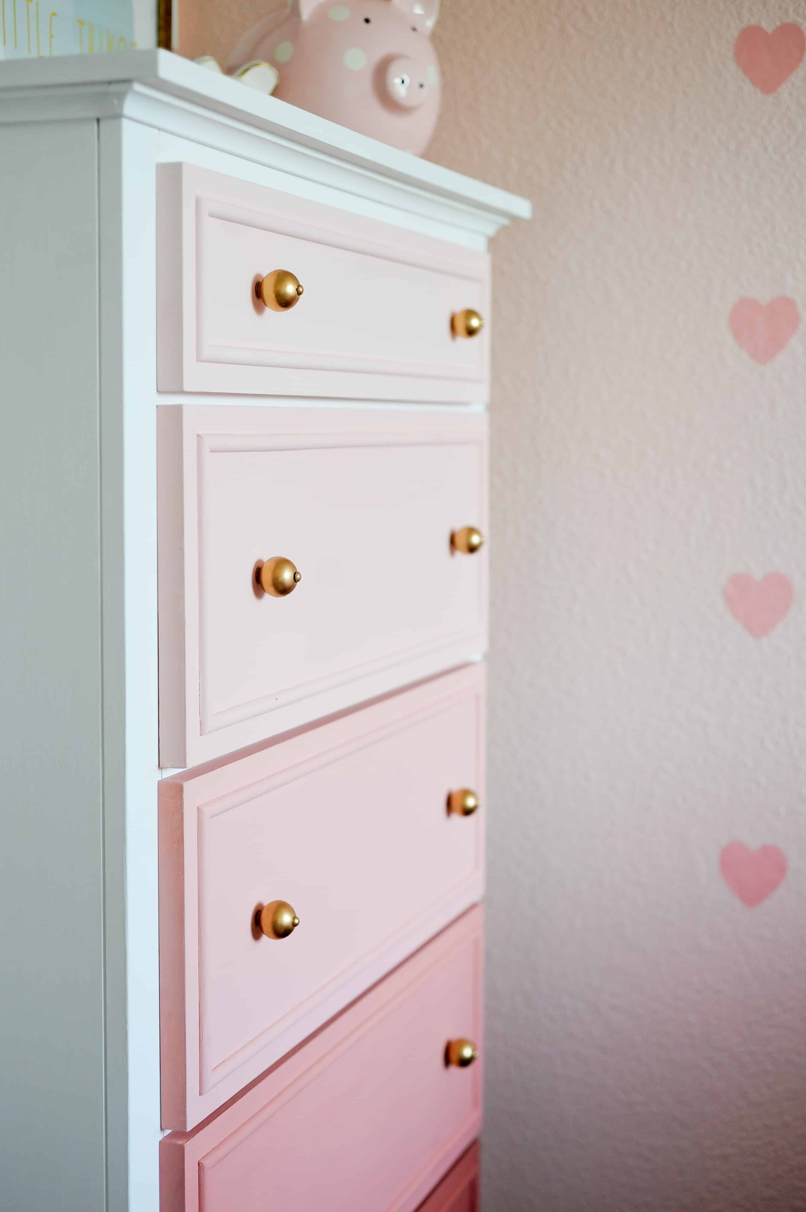 Pink ombre painted dresser