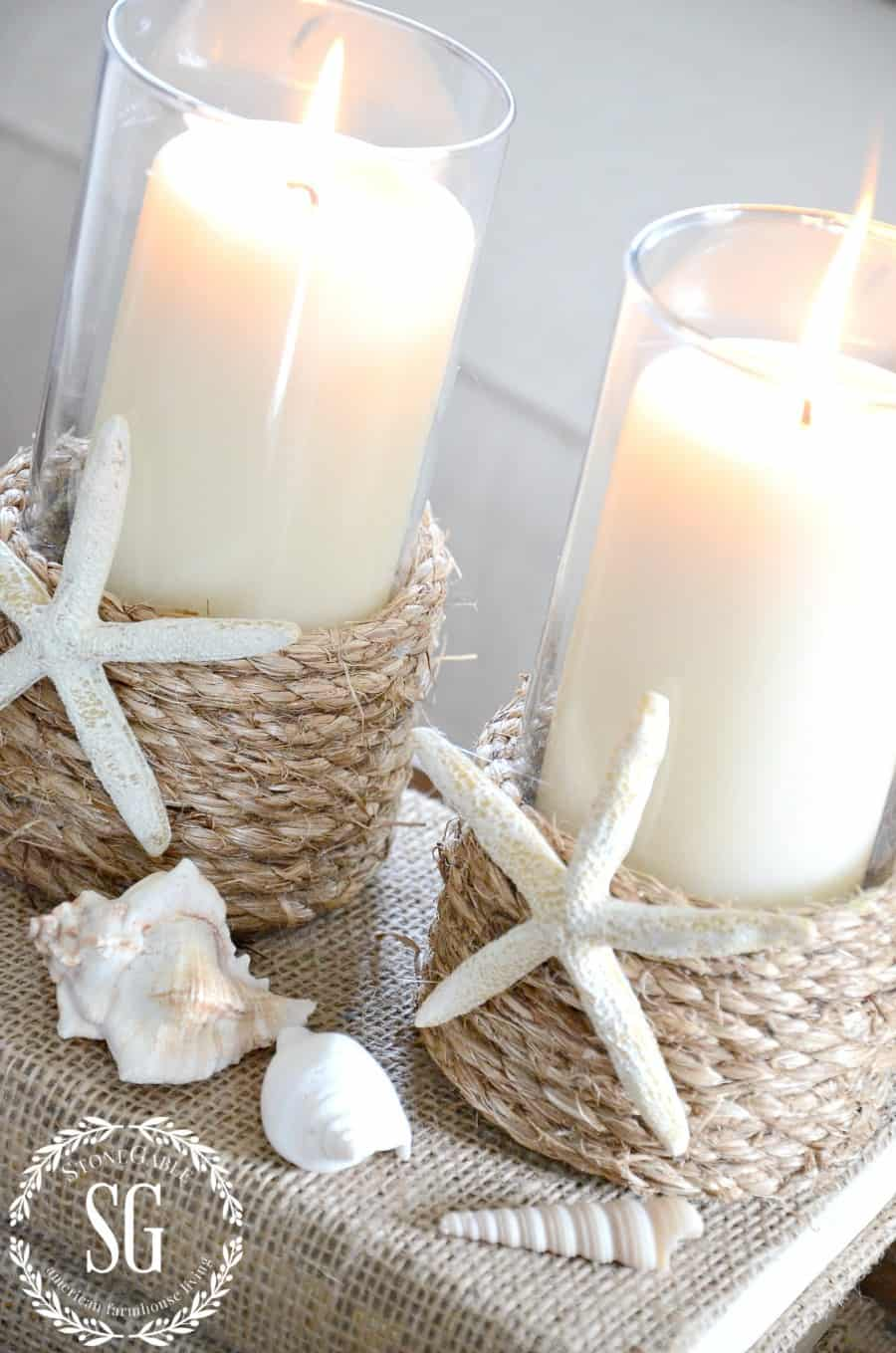 Pottery barn inspired rope wrapped beach candles