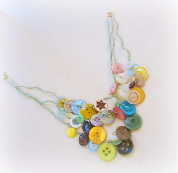 Pretty button bib necklace