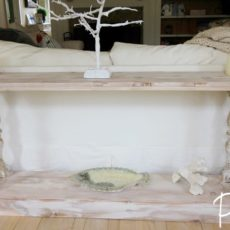 Reclaimed wood french country inspired sofa table