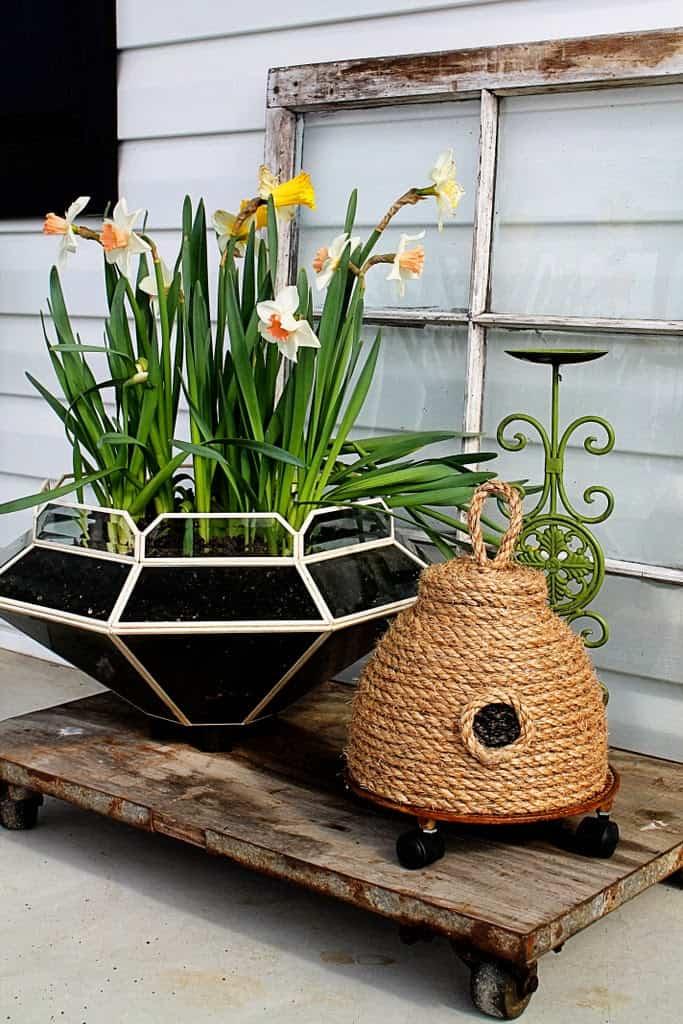 Repurposed light fixture planter