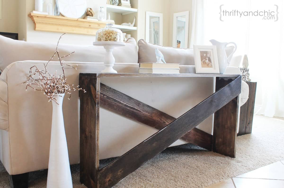 Rustic x frame sofa table