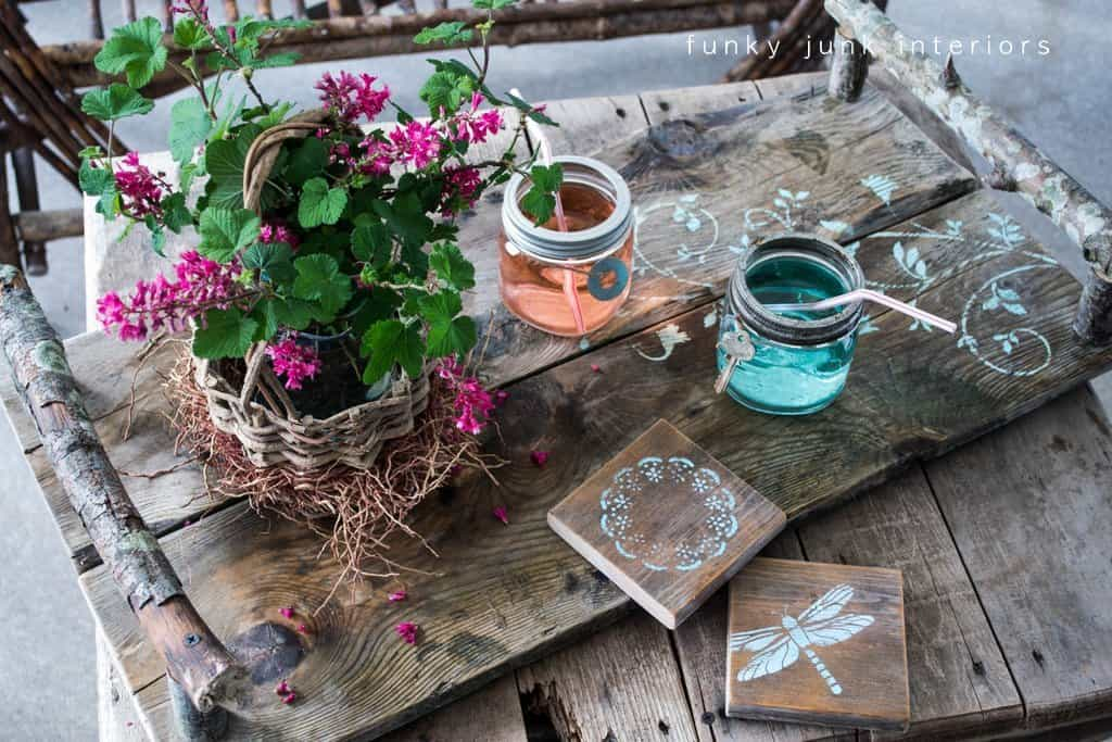Rustic planter tray with branch handles