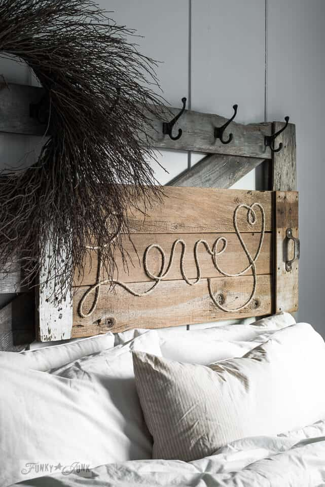 Rustic wood and twine headboard art
