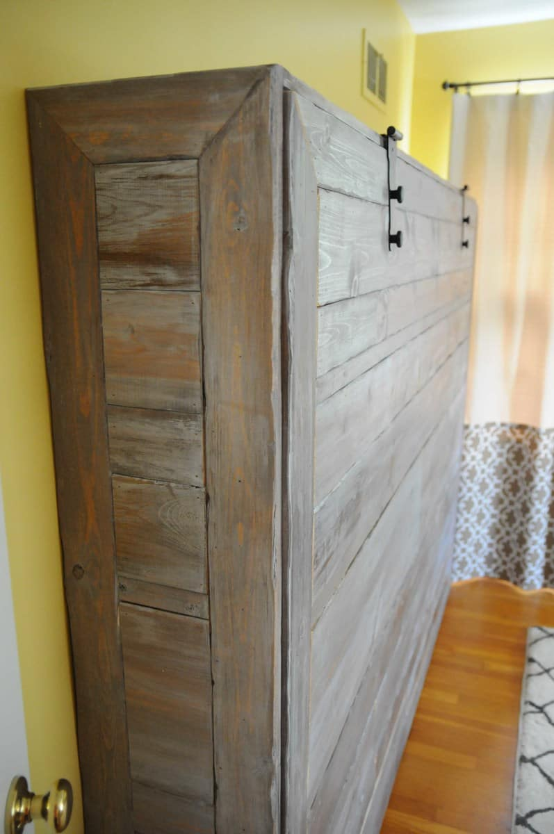 Rustic wooden murphy bed