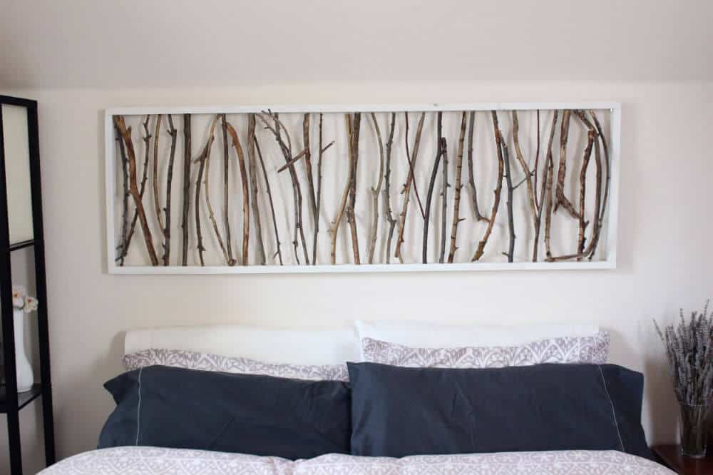 Simple framed twig wall art