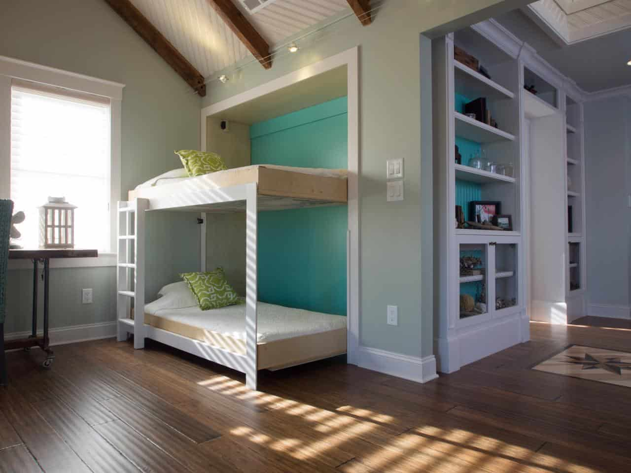 Side folding murphy bunk beds