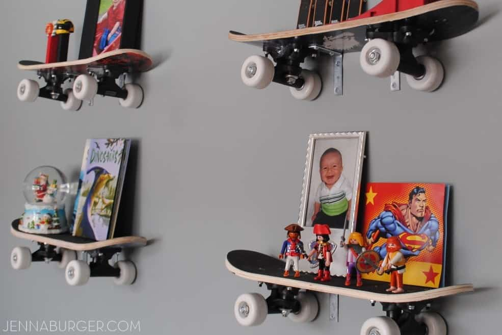 Skateboard floating wall shelves