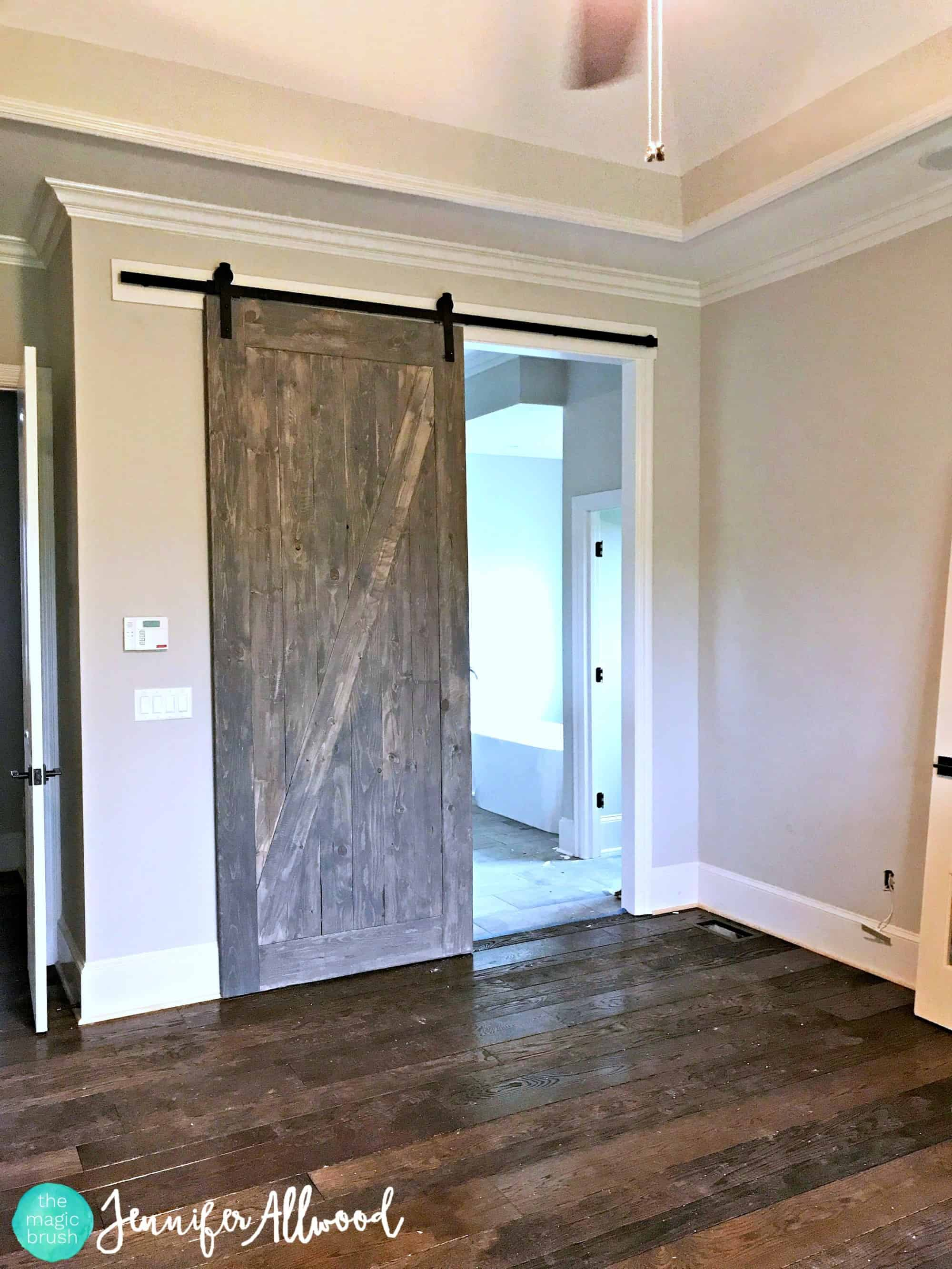 Stained, stylishly weathered barn door