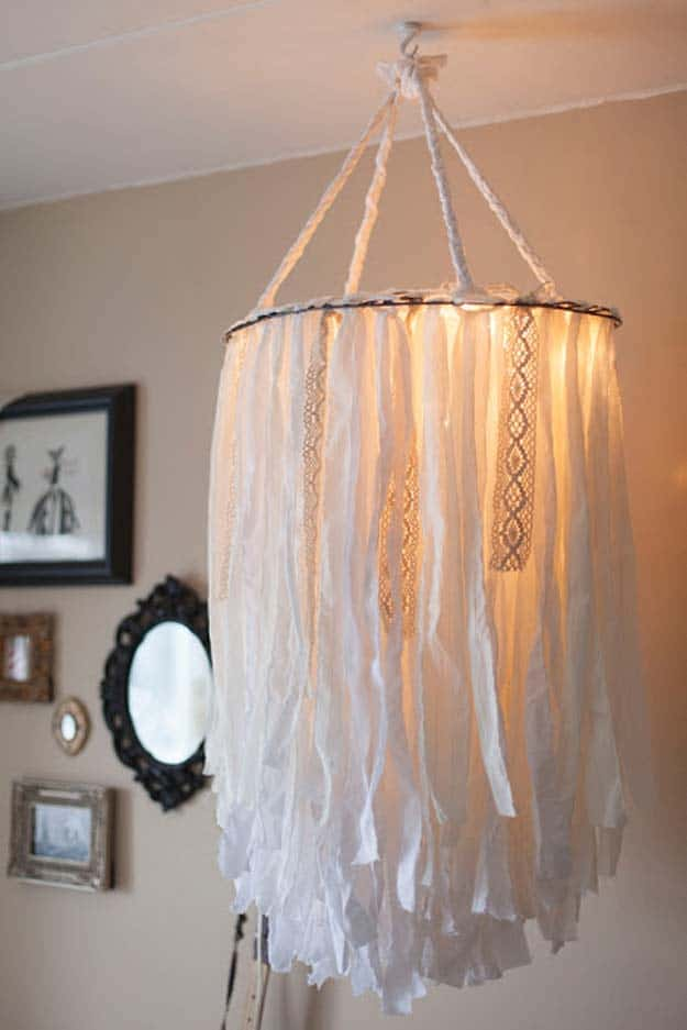 Stripped cloth and lace ribbon chandelier