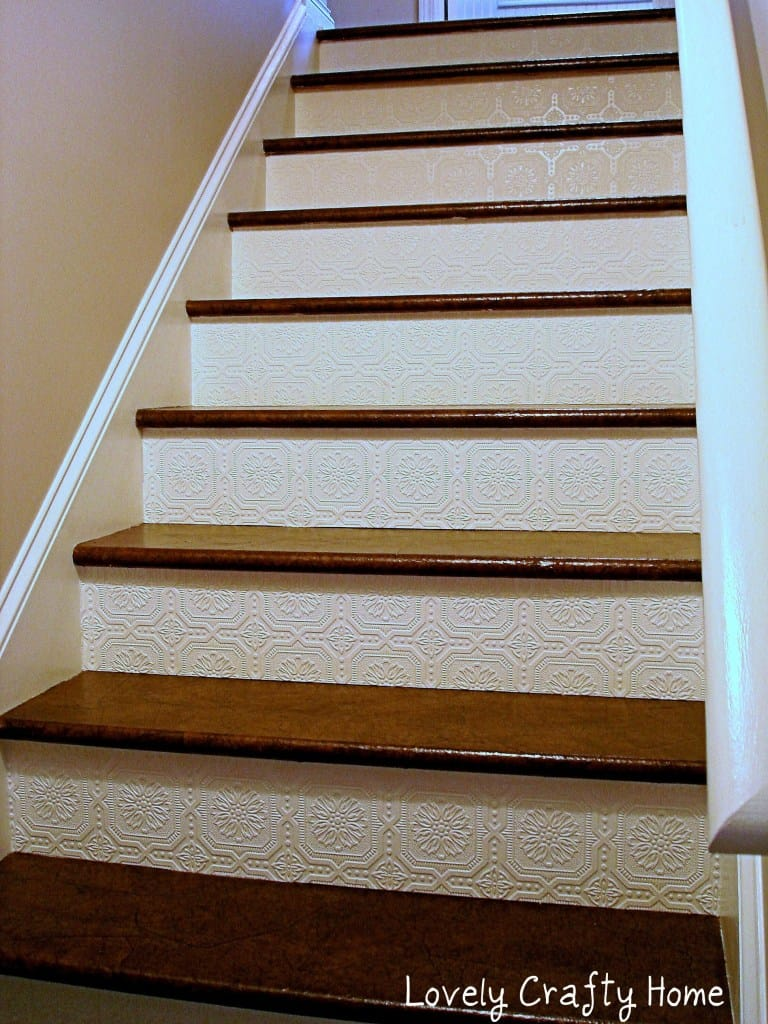 Textured wallpaper stair fronts