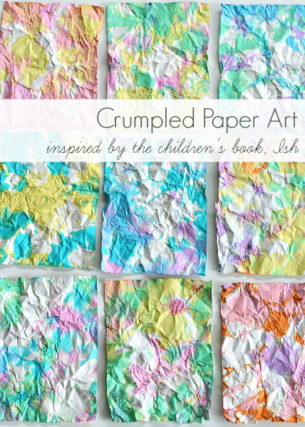 Tie dye style crumpled paper art