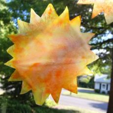 Tie dyed coffee filter sunshine ornaments