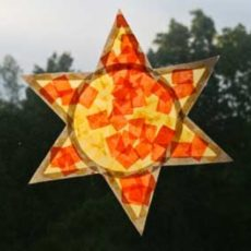 Tissue paper sun shaped sun catcher