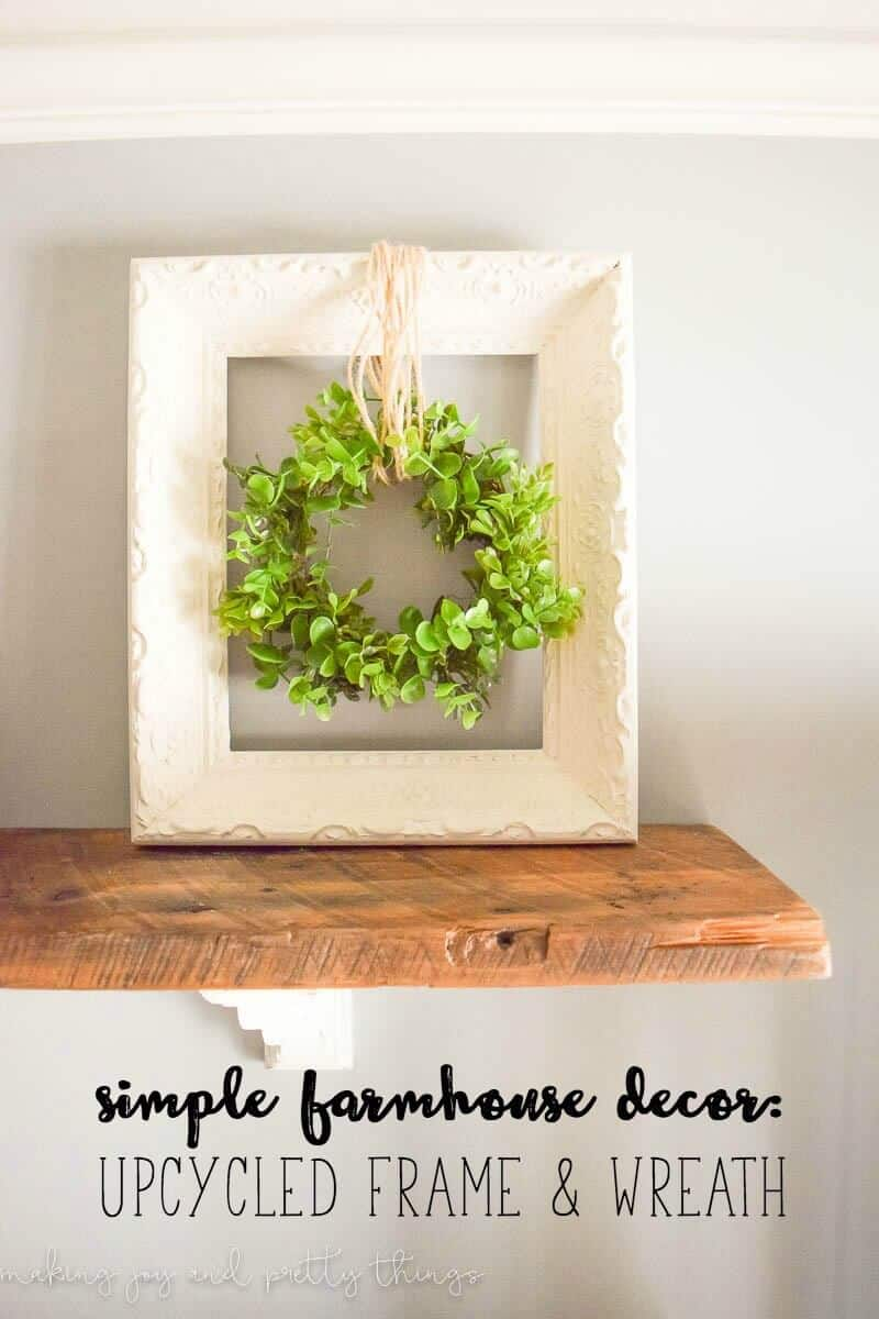 Upcycled frame and wreath