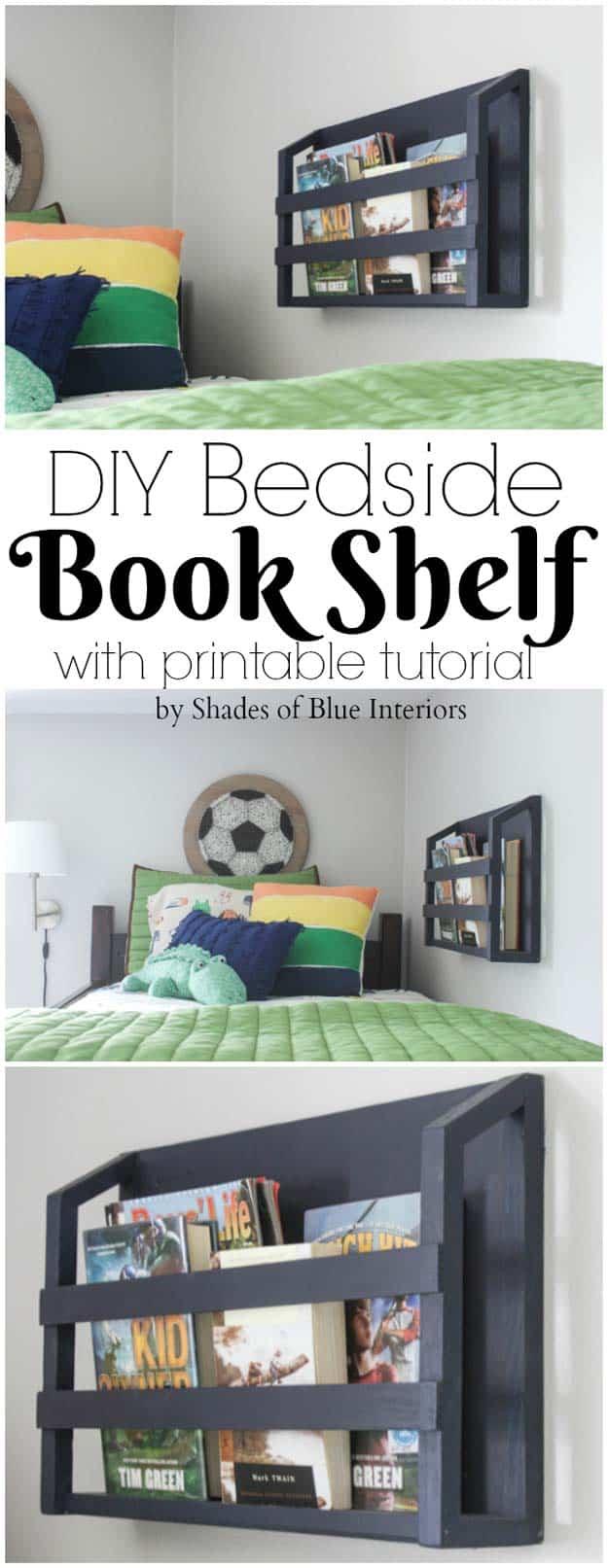 Upcycled pallet bedside bookshelf