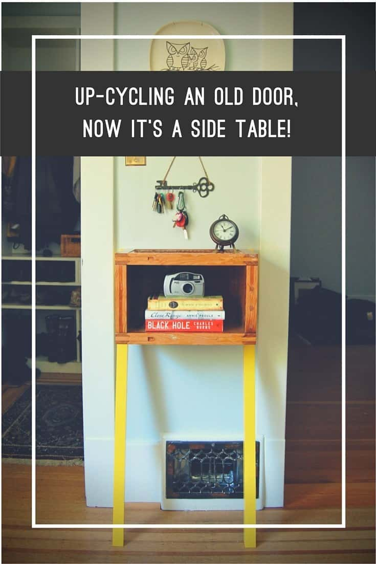 Upcycled wooden door leaning front table