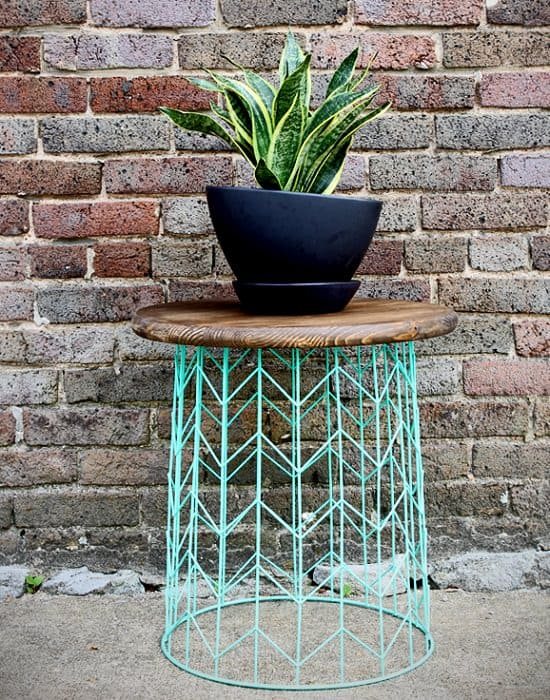 Upside down wire basket planter table