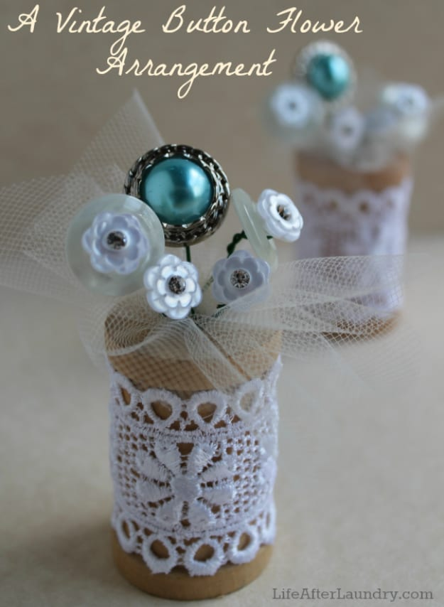 Vintage button flower and thread spool arrangement
