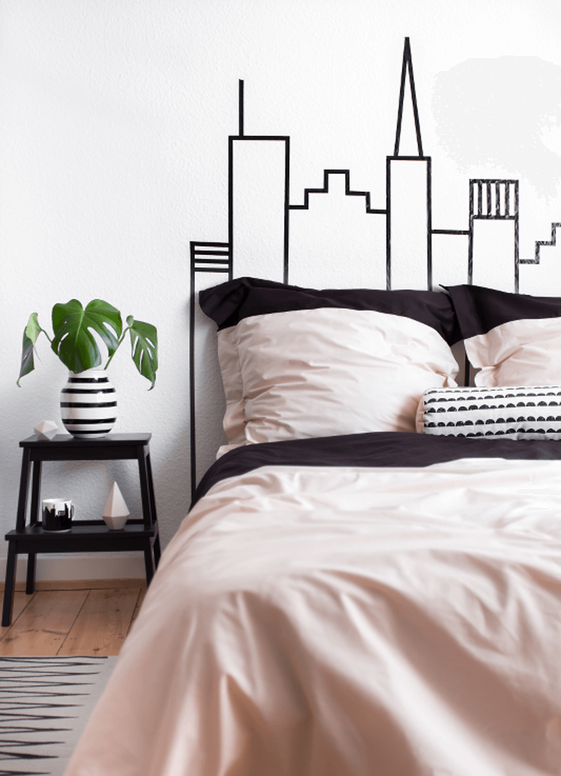 Washi tape skyline headboard decoration