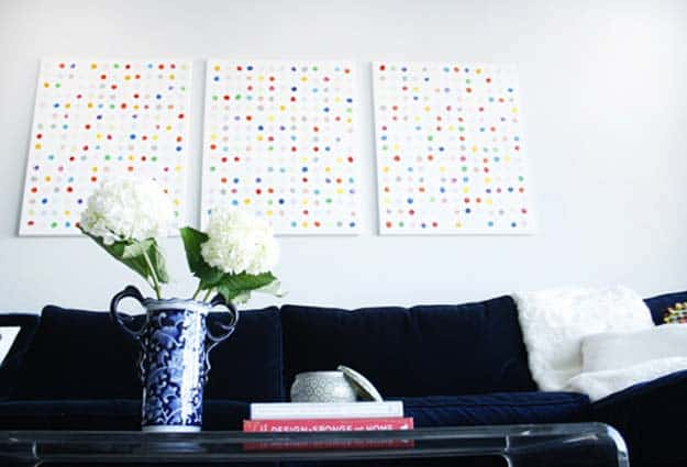 White and finger painted spots wall art