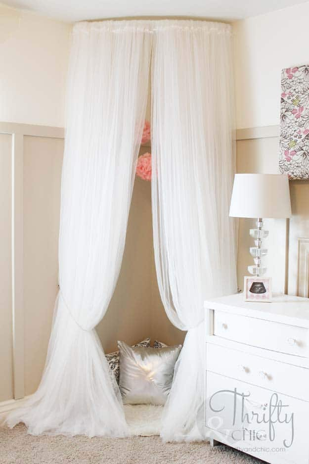 White chiffon canopy reading nook